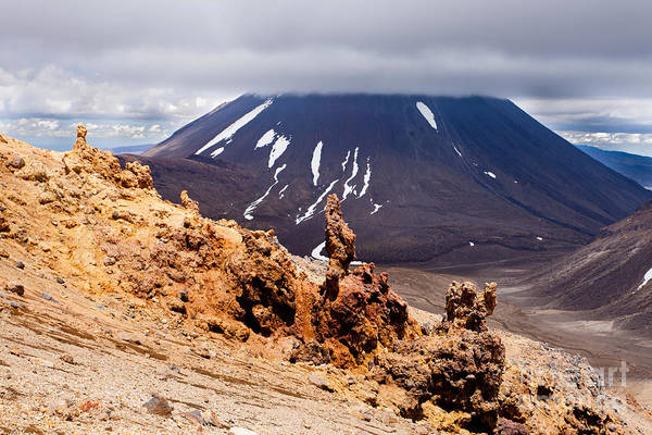 Mount Art Print featuring the photograph Lava Sculptures And Volcanoe Mount Ngauruhoe Nz by Stephan Pietzko