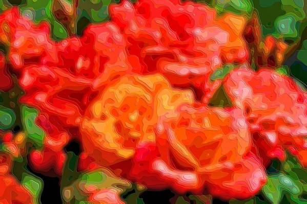 Layer-art Art Print featuring the digital art Layer Art Flowers Roses by Mary Clanahan