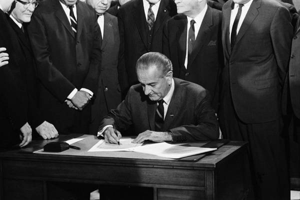 'full Suits Art Print featuring the photograph Lbj Signs Civil Rights Bill by Underwood Archives Warren Leffler