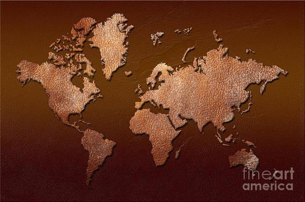 world Map Print featuring the digital art Leather World Map by Zaira Dzhaubaeva