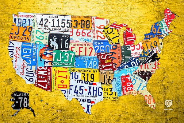 License Plate Map Art Print featuring the mixed media License Plate Art Map Of The United States On Yellow Board by Design Turnpike