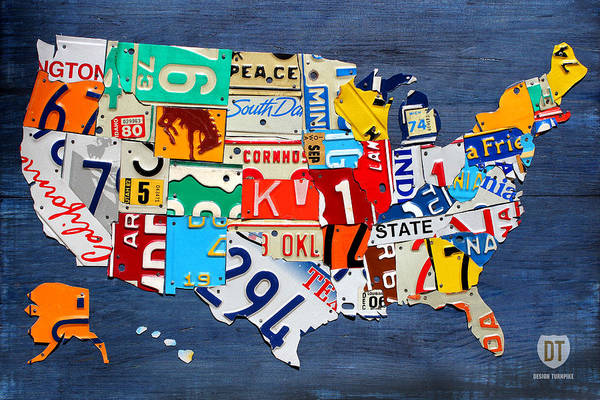 License Plate Map Art Print featuring the mixed media License Plate Map Of The United States - Small On Blue by Design Turnpike