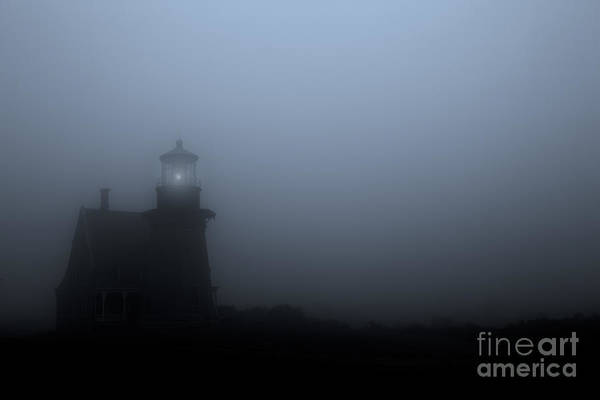 Lighthouse Art Print featuring the photograph Lighthouse In Fog by Diane Diederich