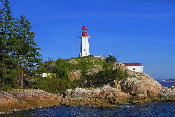 Ocean Art Print featuring the mixed media Lighthouse On The Hill by Bob Sandler