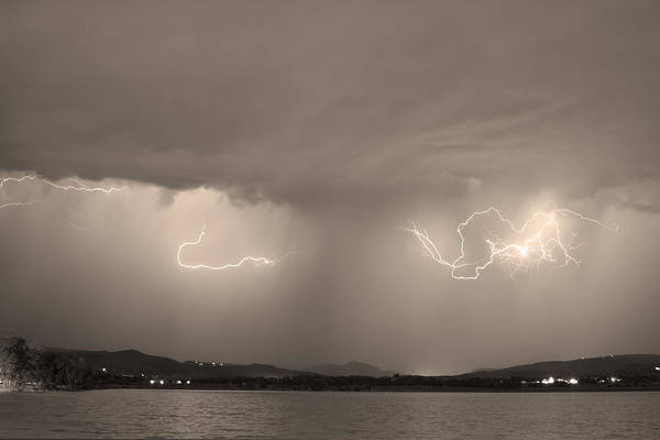 Lightning Art Print featuring the photograph Lightning And Sepia Rain Over Rocky Mountain Foothills by James BO Insogna