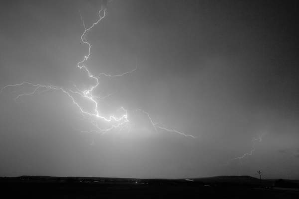 Lightning Print featuring the photograph Lightning Goes Boom In The Middle Of The Night Bw by James BO Insogna