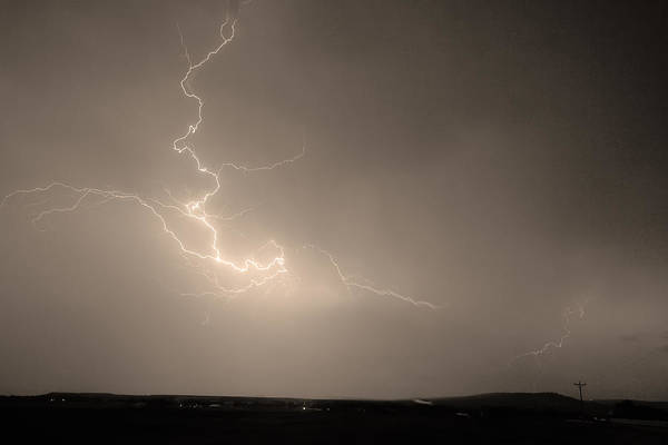 Lightning Art Print featuring the photograph Lightning Goes Boom In The Middle Of The Night Sepia by James BO Insogna