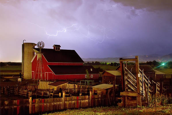 Lightning Print featuring the photograph Lightning Strikes Over The Farm by James BO Insogna