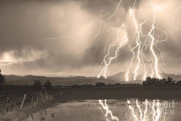 Lightning Art Print featuring the photograph Lightning Striking Longs Peak Foothills Sepia 4 by James BO Insogna