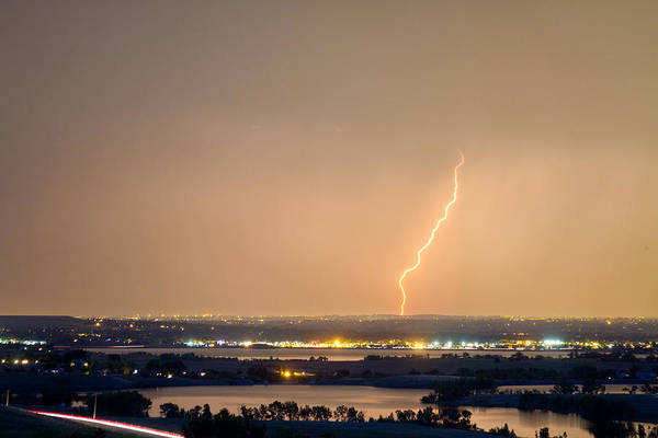 Lightning Art Print featuring the photograph Lightning Striking Over Coot Lake And Boulder Reservoir by James BO Insogna