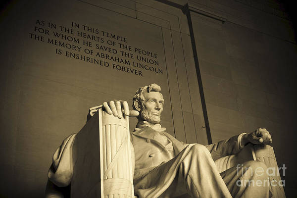 Abraham Lincoln Art Print featuring the photograph Lincoln Statue In The Lincoln Memorial by Diane Diederich