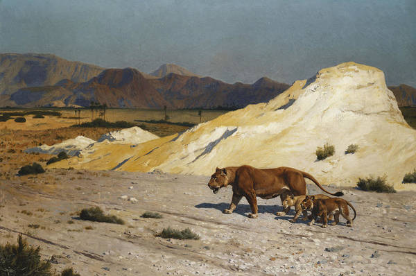 Academic Art Print featuring the painting Lioness And Cubs by Jean Leon Gerome