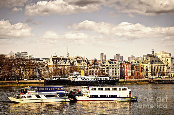 London Art Print featuring the photograph London From Thames River by Elena Elisseeva
