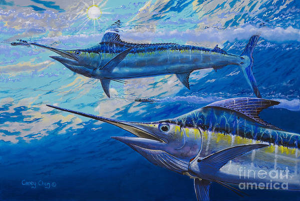Marlin Art Print featuring the painting Lookers Off0019 by Carey Chen
