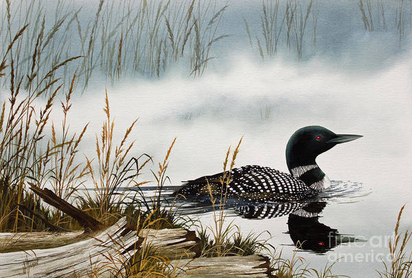 Loon Art Print featuring the painting Loons Misty Shore by James Williamson