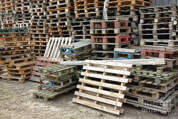 Waiting Art Print featuring the photograph Lots Of Pallets by Olivier Le Queinec