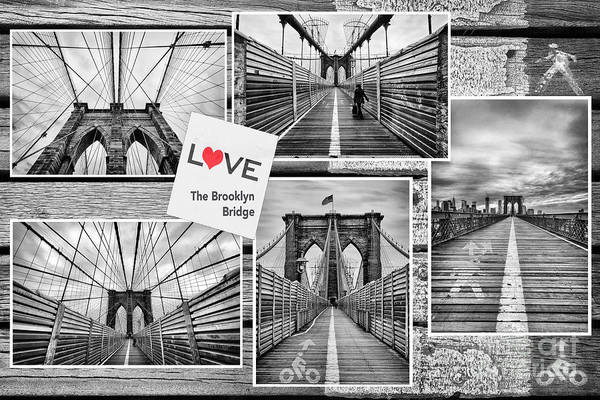 U.s.a Art Print featuring the photograph Love The Brooklyn Bridge by John Farnan