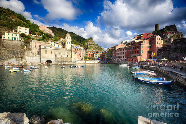 Cinque Terre Print featuring the photograph Low Angle View Of Vernazza Harbor by George Oze