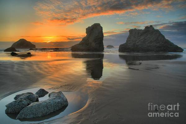 Bandon Beach Print featuring the photograph Low Tide Giants by Adam Jewell