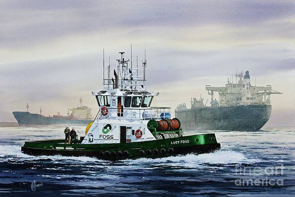 Tugboat Print Art Print featuring the painting Lucy Foss by James Williamson