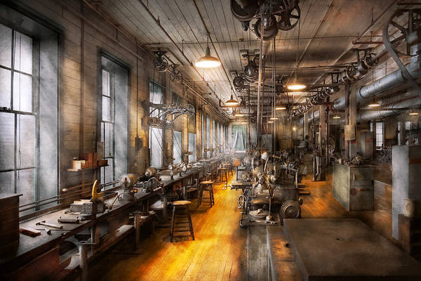 Steampunk Art Print featuring the photograph Machinist - Santa's Old Workshop by Mike Savad