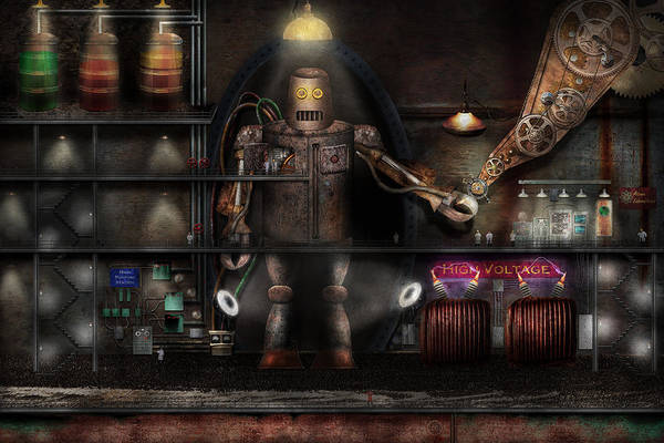 Robot Art Print featuring the photograph Mad Scientist - The Enforcer by Mike Savad