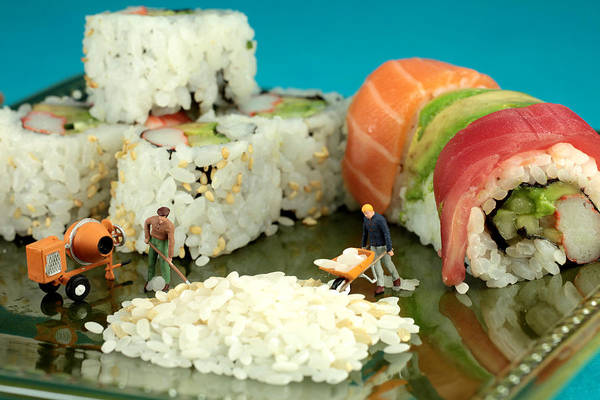 Sushi Art Print featuring the photograph Making Sushi Little People On Food by Paul Ge