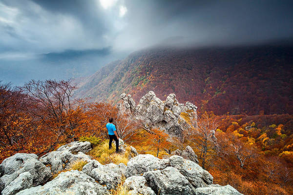 Autumn Art Print featuring the photograph Man And The Mountain by Evgeni Dinev