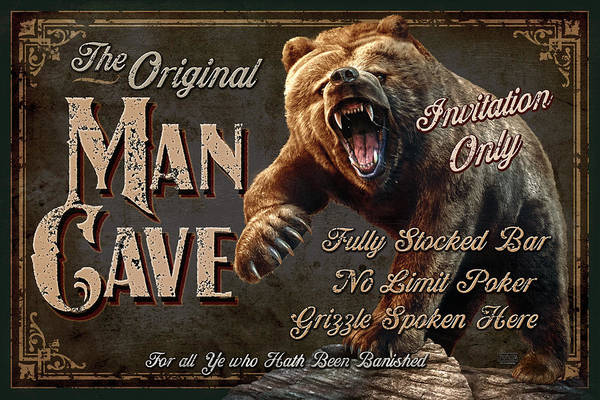 Jeff Wack Art Print featuring the painting Man Cave Grizzly by JQ Licensing