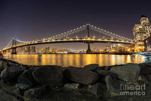 Manhattan Art Print featuring the photograph Manhattan Bridge Evening Reflections by Daniel Portalatin Photography