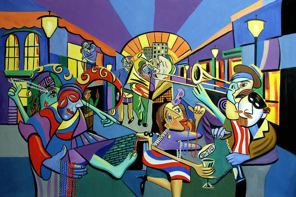 Mardi Gras Art Print featuring the painting Mardi Gras Lets Get The Party Started by Anthony Falbo