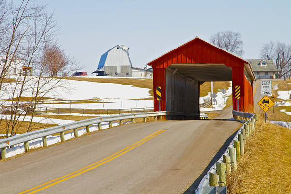 Ohio Art Print featuring the photograph Mccolly Covered Bridge by Jack R Perry