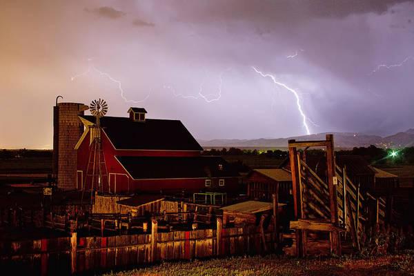 Lightning Art Print featuring the photograph Mcintosh Farm Lightning Thunderstorm by James BO Insogna