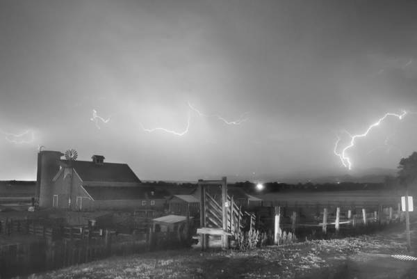 Lightning Art Print featuring the photograph Mcintosh Farm Lightning Thunderstorm View Bw by James BO Insogna