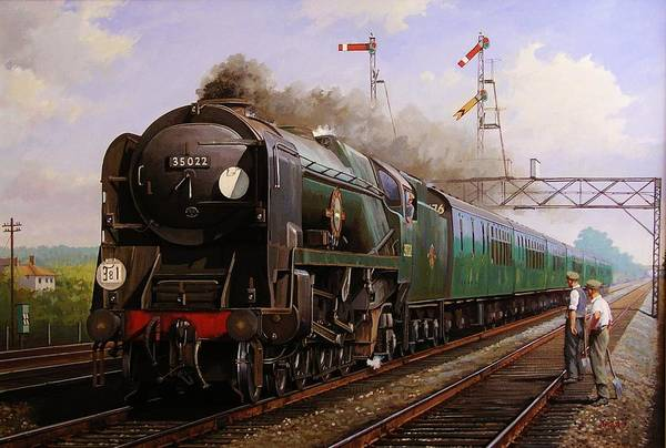 Steam Print featuring the painting Merchant Navy Pacific At Brookwood. by Mike Jeffries