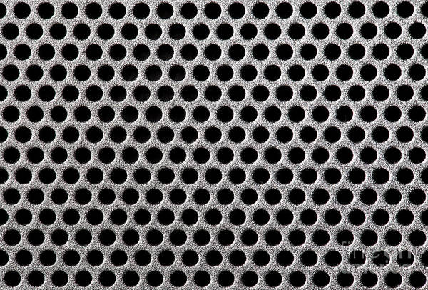 Abstract Print featuring the photograph Metal Grill Dot Pattern by Simon Bratt Photography LRPS