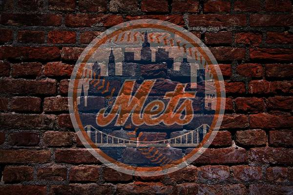 Baseball Art Print featuring the photograph Mets Baseball Graffiti On Brick by Movie Poster Prints
