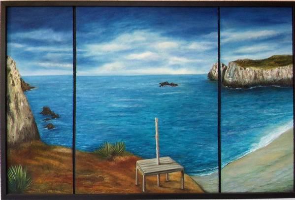 Blue Ocean Beach Mexico Rocks Oaxaca Art Print featuring the painting Mexican Ocean Beach by Nora Vega