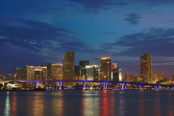 Landscape Art Print featuring the mixed media Miami Evening by Bob Sandler