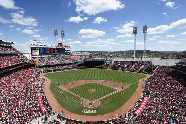 Great American Ball Park Art Print featuring the photograph Miami Marlins V Cincinnati Reds by Joe Robbins