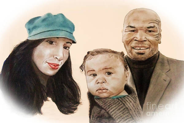 Mike Tyson And Family Altered Version From The One I Gave Him Art Print featuring the drawing Mike Tyson And Family Altered Version From The One I Gave Him by Jim Fitzpatrick