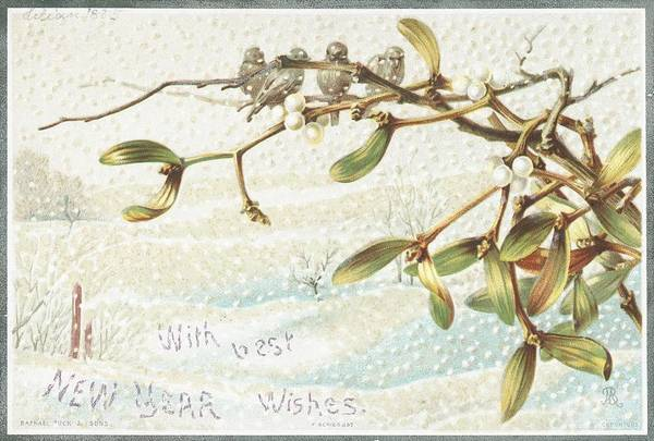Greetings Art Print featuring the painting Mistletoe In The Snow by English School