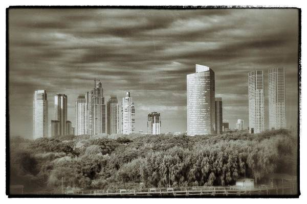 Buenos Aires Art Print featuring the relief Modern Buenos Aires Black And White by For Ninety One Days