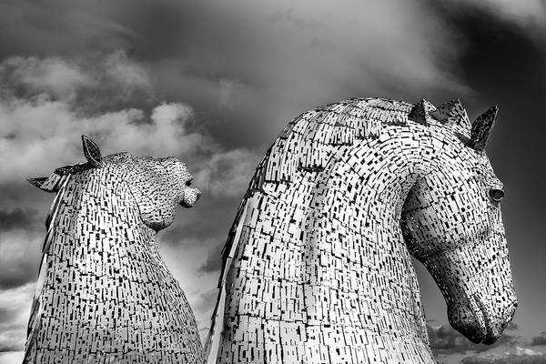 Horse Art Print featuring the photograph Monochrome Kelpies by Ross G Strachan