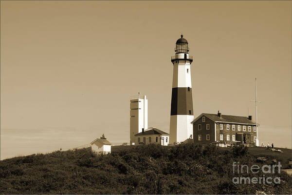 Lighthouse Art Print featuring the photograph Montauk Point Light In Sepia by Christiane Schulze Art And Photography