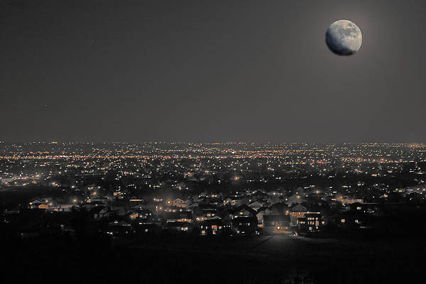 Moon Art Print featuring the photograph Moon Over Fort Collins by David Kehrli