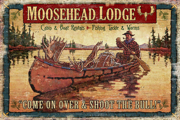 Tin Tanner Art Print featuring the painting Moosehead Lodge by JQ Licensing