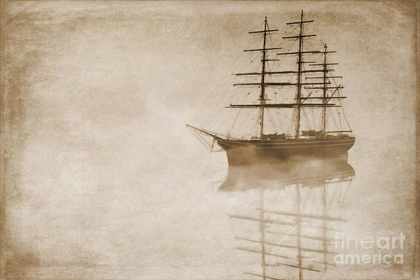 Sailing Ship Art Print featuring the digital art Morning Mist In Sepia by John Edwards