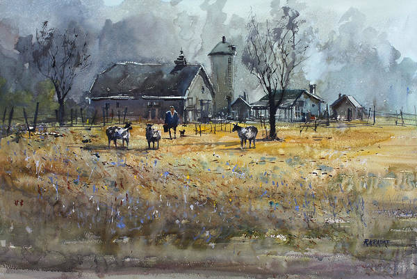 Ryan Radke Art Print featuring the painting Morning On The Farm by Ryan Radke