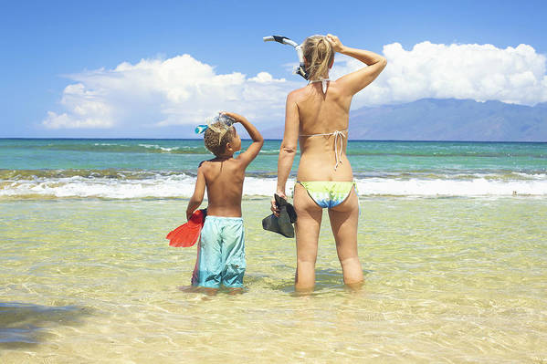 Activity Print featuring the photograph Mother Son Snorkel by Kicka Witte